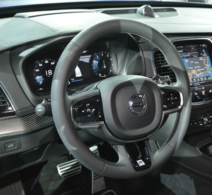 Inside, gearshift paddles, plus the Contour sports seats and perforated leather steering wheel and gearshift knob are accompanied by special R-Design details