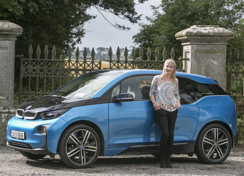 Geraldine Herbert with the BMW i3. Pic by Kyran O'Brien