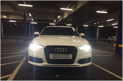 Rebecca's Audi S Line is shown to its most dramatic advantage by shooting it underground, with headlights on