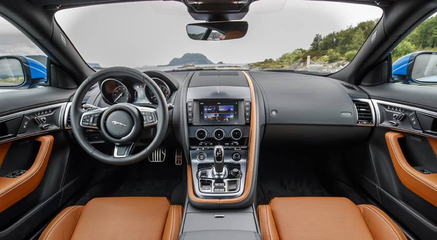 changes to the F-TYPE's interior, including lightweight slimline seats, Touch Pro infotainment system and new chrome and aluminium trim finishers