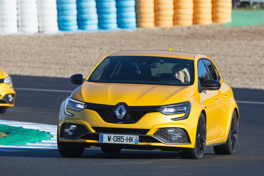 Geraldine driving the Renault Megane R.S. press tests at Jerez