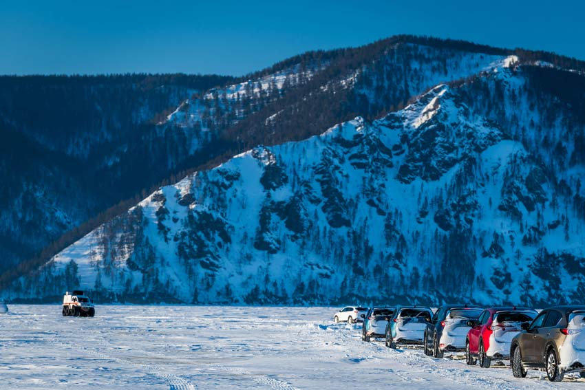 Driving on Lake Baikal
