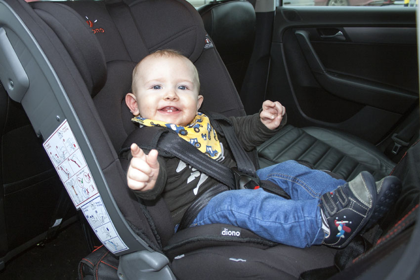 Eoghan Keane O'Regan testing out a rear facing seat